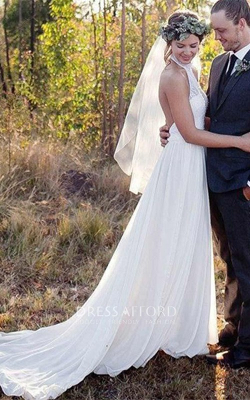 High Neck Chiffon  Sleeveless Wedding Gown