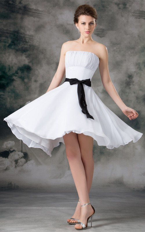 Short-Midi Ruched Ribbon Chiffon Strapless Dress