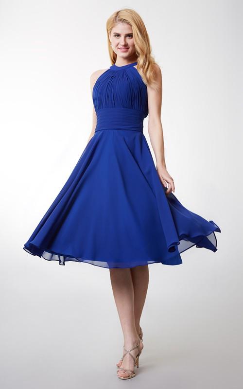 Keyhole Back High-Neckline A-Line Bridesmaid Dress