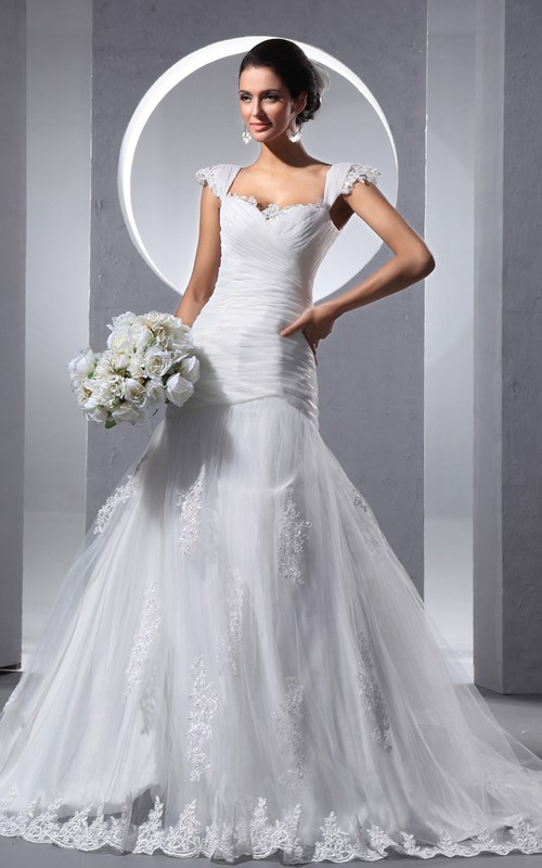 Ruched Soft Tulle A-Line Criss-Cross Dress
