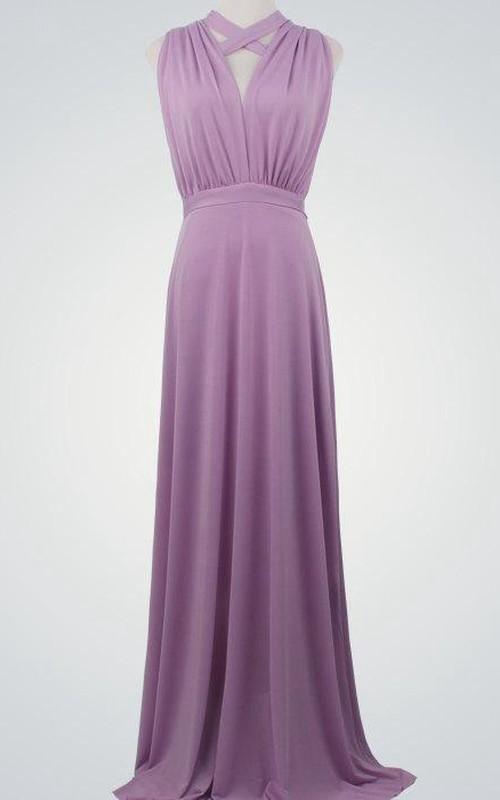 casual Sleeveless Haltered Floor-length Dress