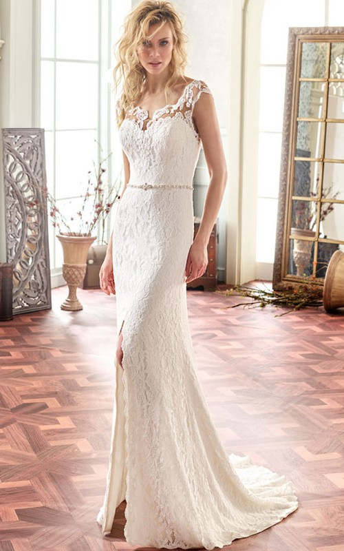 Split Front Lace Cap-sleeve Wedding Dress With Illusion And Court Train