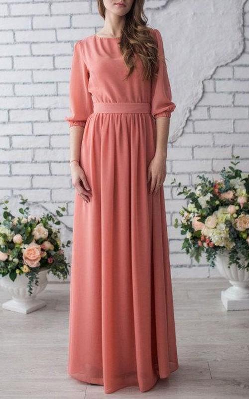 Bateau Half Sleeve Pleated Floor-length Dress With bow