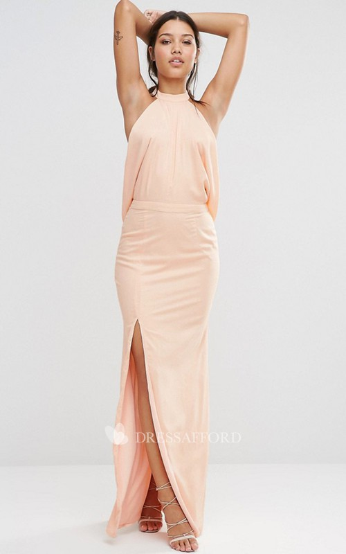 High Neck Front-split Chiffon Dress
