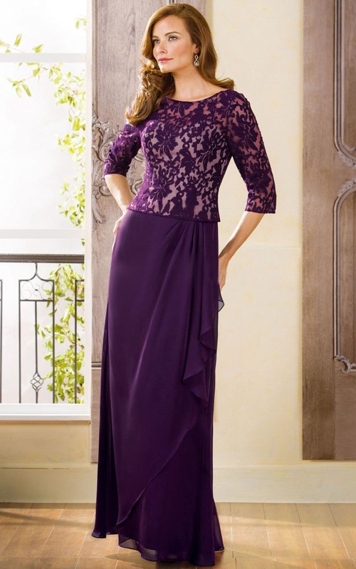 Lace Keyhole Back Long 3-4-Sleeved Mother Of The Bride