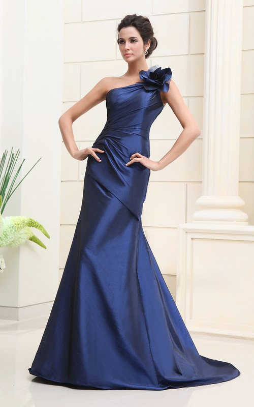 Floral Side Gathering One-Shoulder Asymmetrical Gown