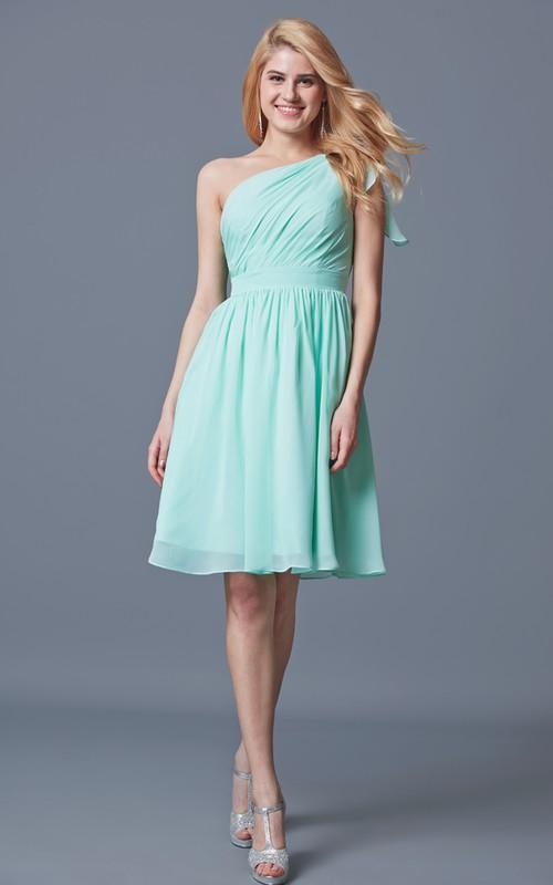 Chiffon Knee-Length One-Shoulder Bridesmaid Dress