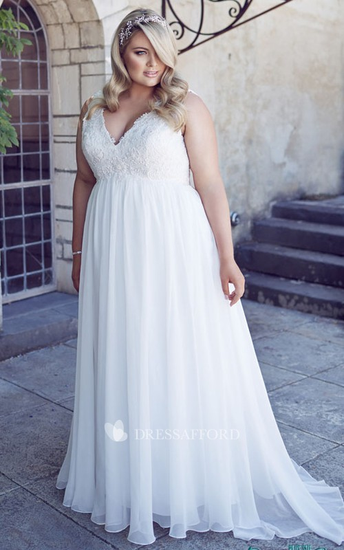 Plunged Sleeveless Chiffon Lace Dress With Appliques And  Pleats