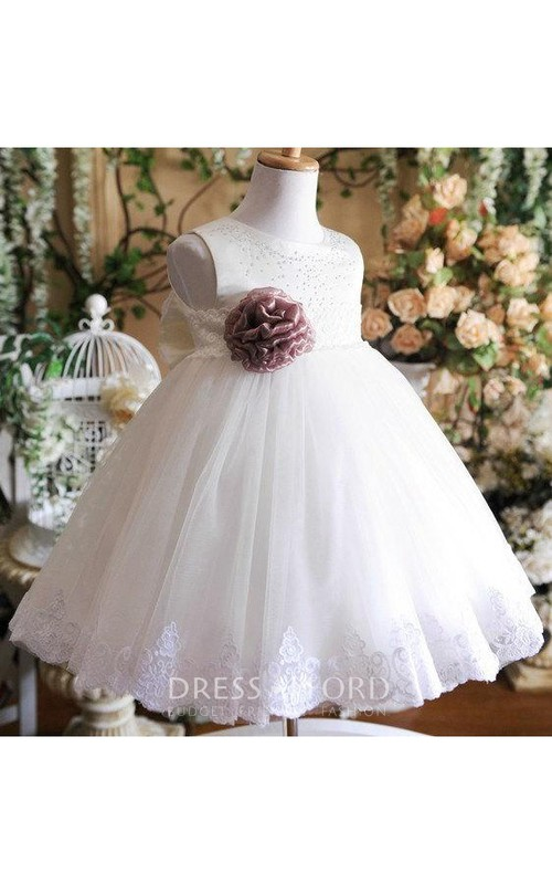 Tulle Jeweled Detailing Flower Jewel-Neckline Sleeveless Ball Gown