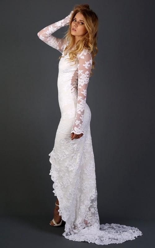 Lace Appliqued Floral Chapel-Train Long-Sleeve Gown
