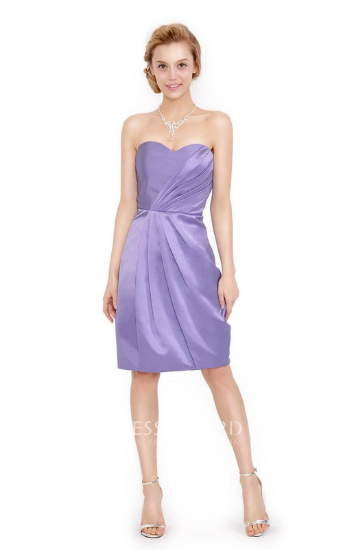 Sweetheart Satin Knee-length Dress With Draping And Split Back