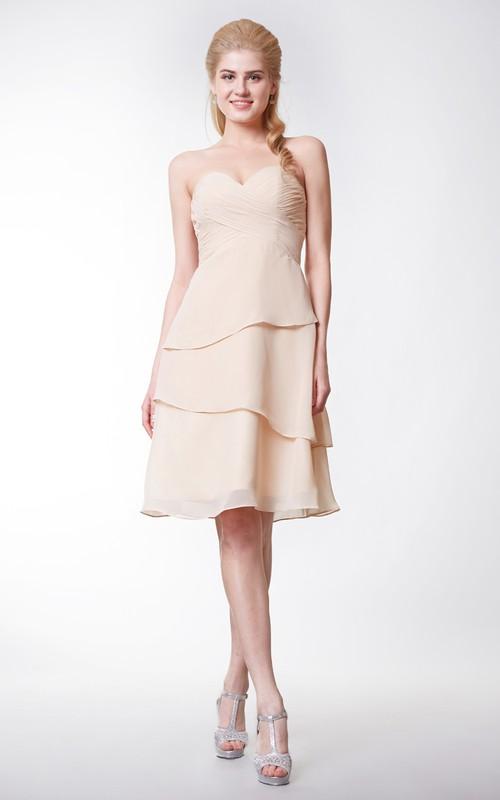 Layered A-Line Sleeveless Sweetheart Chiffon Knee-Length Gown