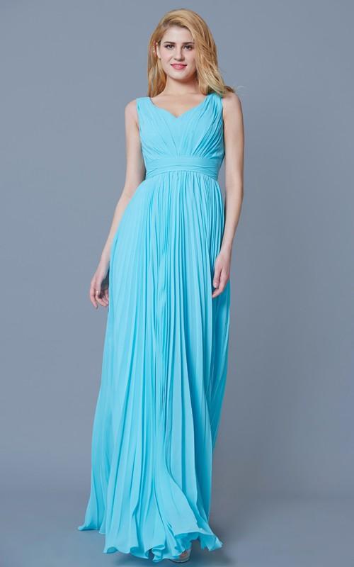 Chiffon Sleeveless V-neck Bridesmaid Dress With Pleats