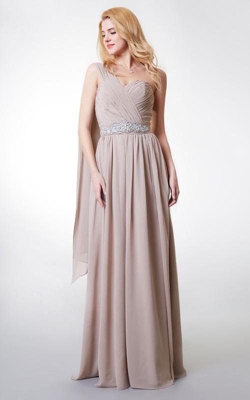 A-Line Pleated Chiffon Single-Shoulder Boho Floor-Length Dress