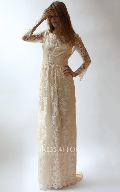 Scoop-neck Lace Long Sleeve Sheath Dress With Sweep Train