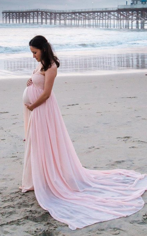 Maternity Strapless Chiffon With Court Train