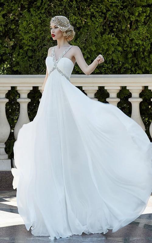 Sleeveless Rhinestone Chiffon Floor-Length A-Line Lace-Up Gown
