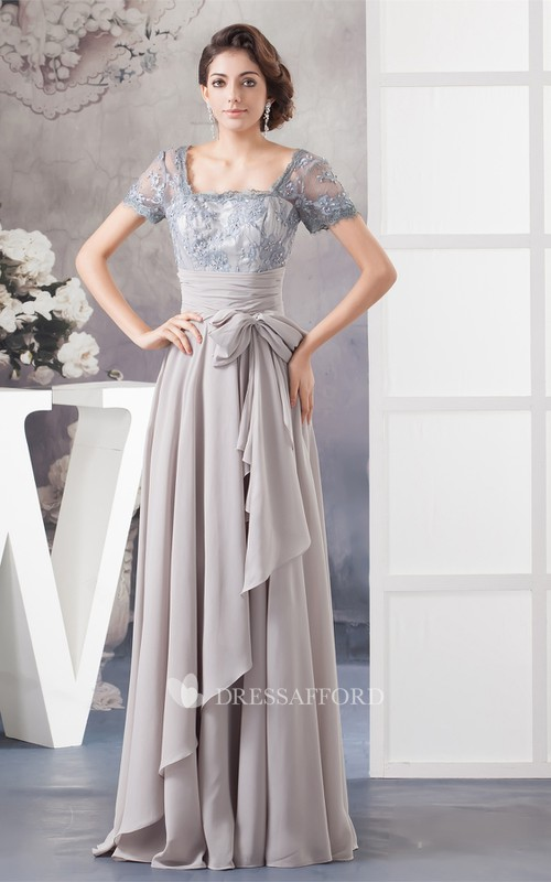 Bow Illusion Caped Sleeve Pleated Chiffon Gown