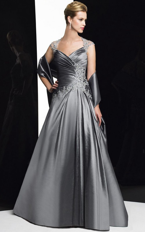 Cap-sleeve Criss cross A-line Satin Dress With Beading And Illusion