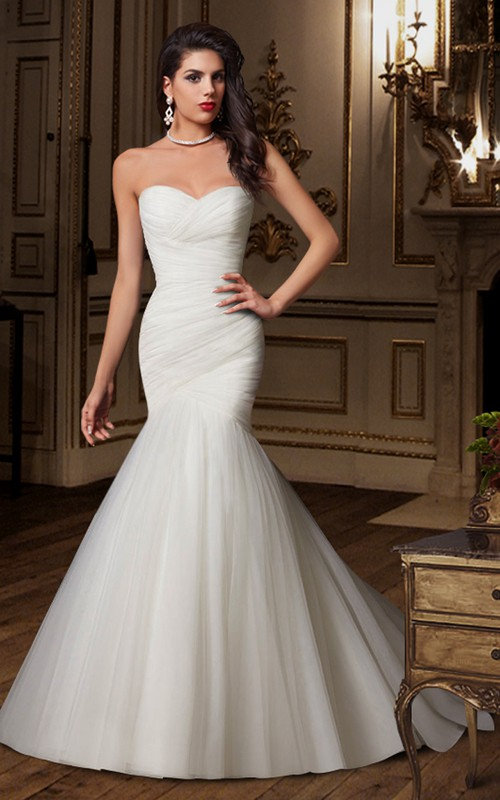 Sweetheart Criss-cross ruched Mermaid Tulle Wedding Dress With Corset Back