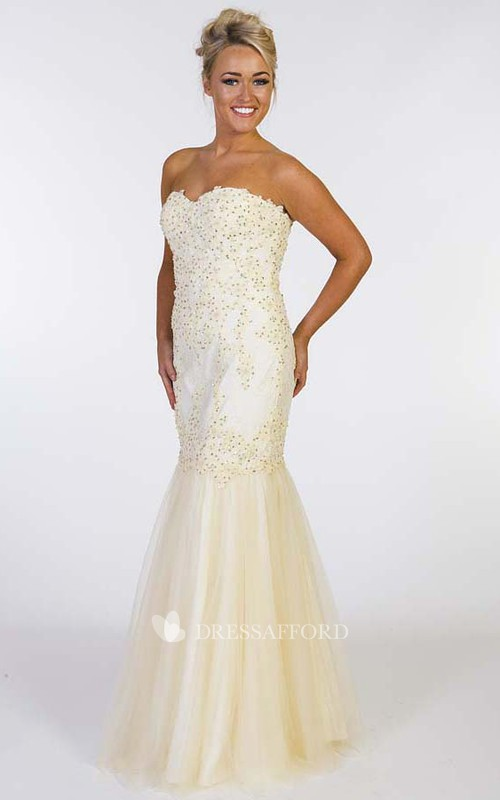 Sweetheart Mermaid Tulle Beaded Dress With Corset Back And Pleats