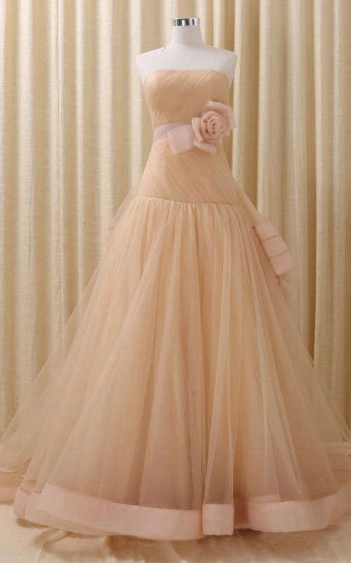 Full-Length Straps Lace-Up Straps Bell Pick-Up Embroidery Floral Ball Gown