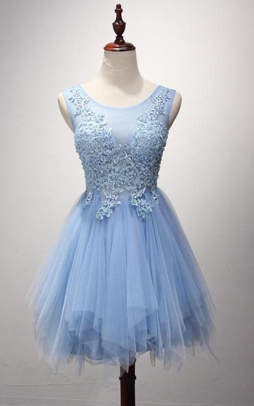 A-Line Applique Bodice Scoop-Neckline Strapless Dress