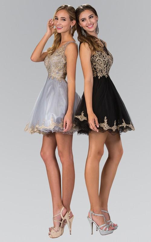 A-Line Mini V-Neck Sleeveless Illusion Dress With Beading