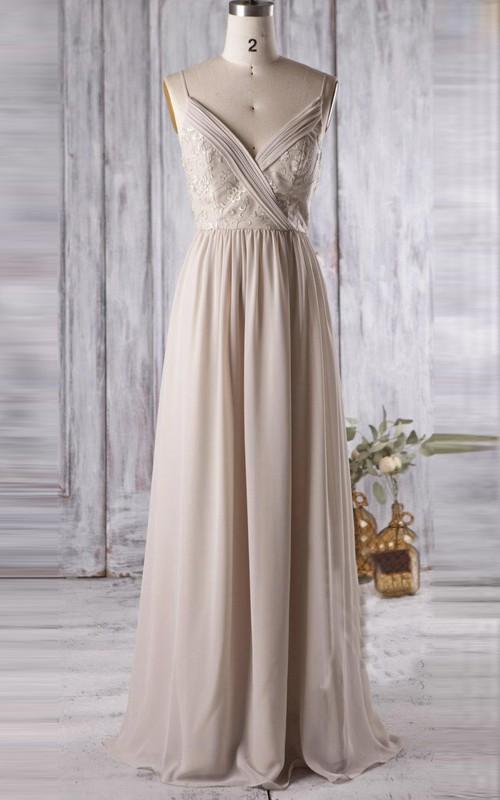 Spaghetti Chiffon Appliqued long Bridesmaid Dress With Low-V Back