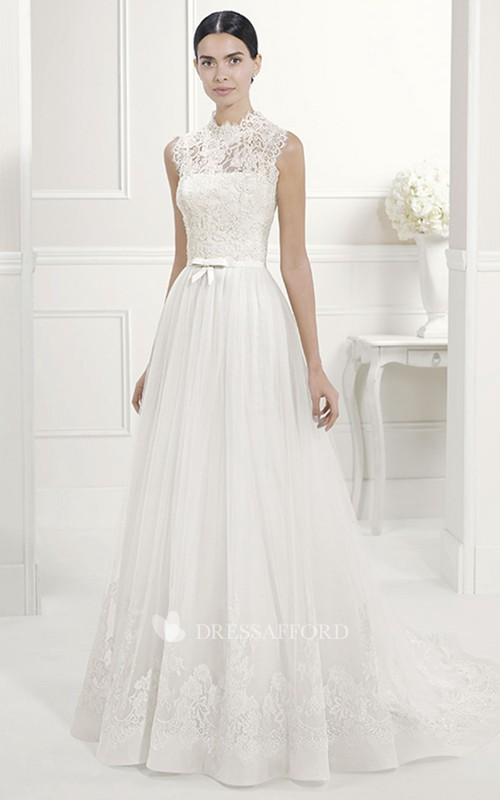 High Neck Sleeveless Lace A-line Dress With Illusion And Court Train