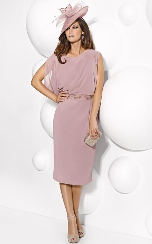 Chiffon Sheath Knee-length Cap-sleeve Dress With Jeweled Waist