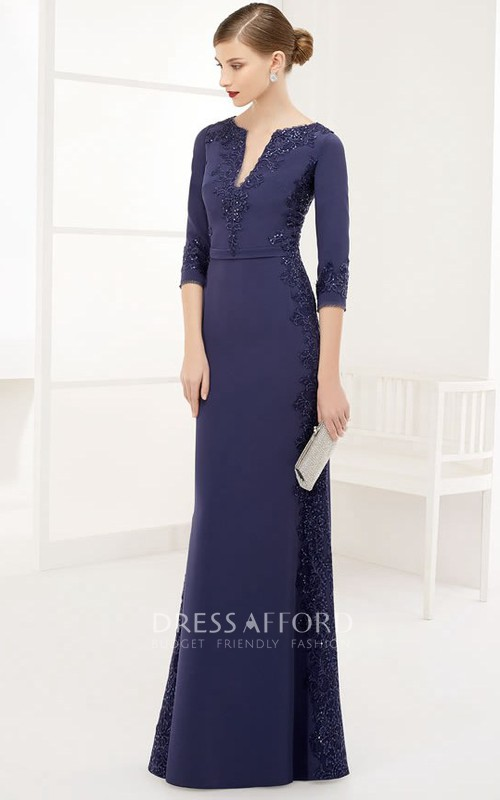 Plunged 3-4-sleeve Sheath Dress With Appliques And Zipper