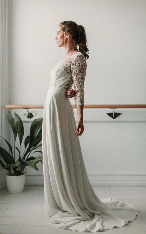 Elegant Lace and Chiffon Sheath V-neck Deep-V Back Wedding Dress