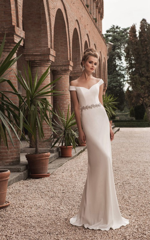 Crystal Sheath V-Neckline Off-The-Shoulder Decorated Gown