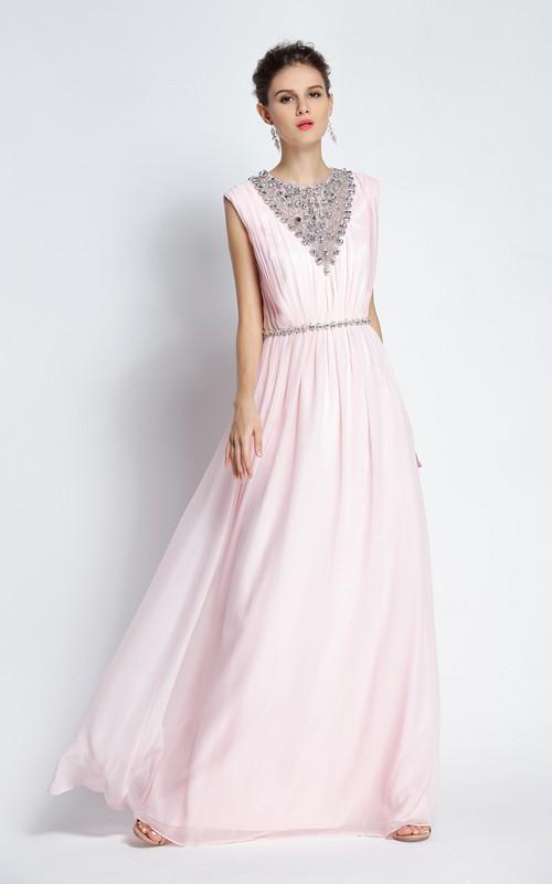 Floor-length A-Line Jewel Sleeveless Chiffon Prom Dress with Beading and Pleats
