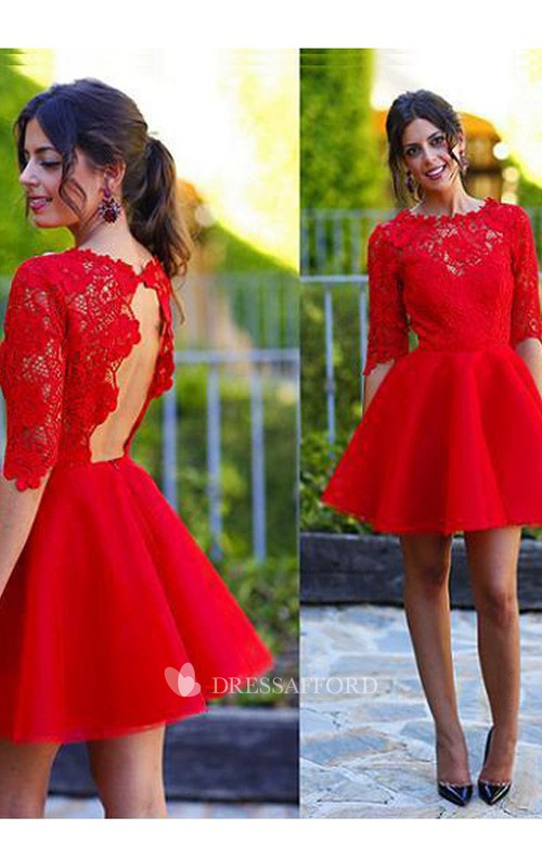 Half Sleeve A-line Short Mini Jewel Scalloped Lace Ruching Satin Lace Homecoming Dress