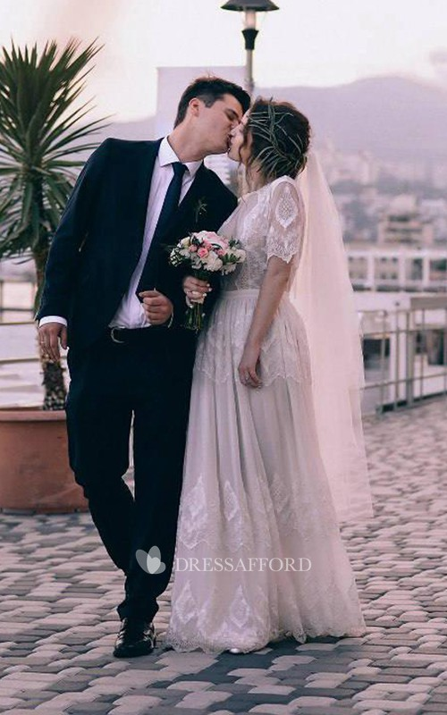 High Neck Half Sleeve Lace Chiffon Wedding Dress With Illusion