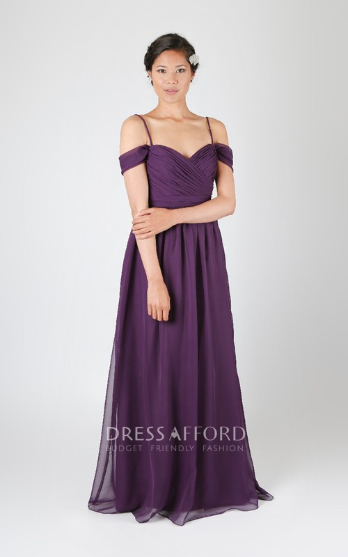 Long Adjustable Sleeves Graceful Strapped Spaghetti Gown