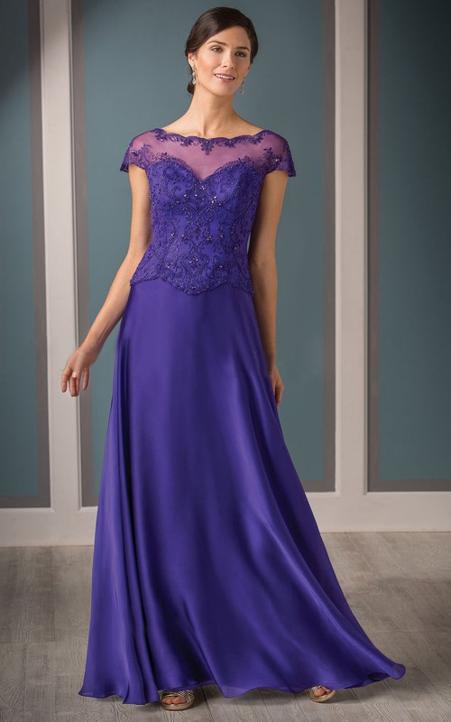 Illusion Neckline Beadings A-Line Cap-Sleeved Mother Of The Bride