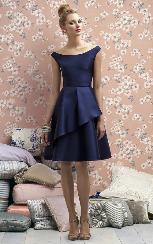 A-Line Side Draping Bateau-Neck Graceful Satin Gown