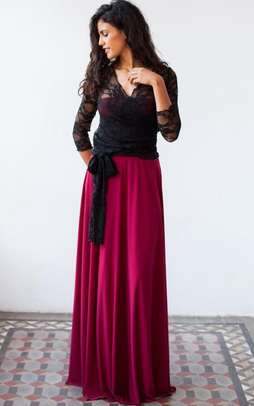 Two-tone Plunged Lace Long Sleeve Dress With bow And Low-V Back