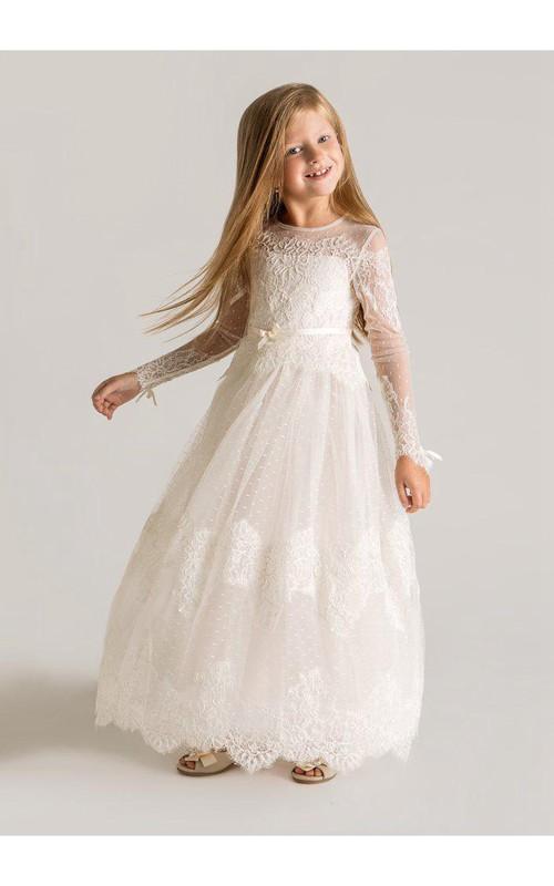Lace Long Sleeve Tulle Modern A-Line Flower Girl Dress