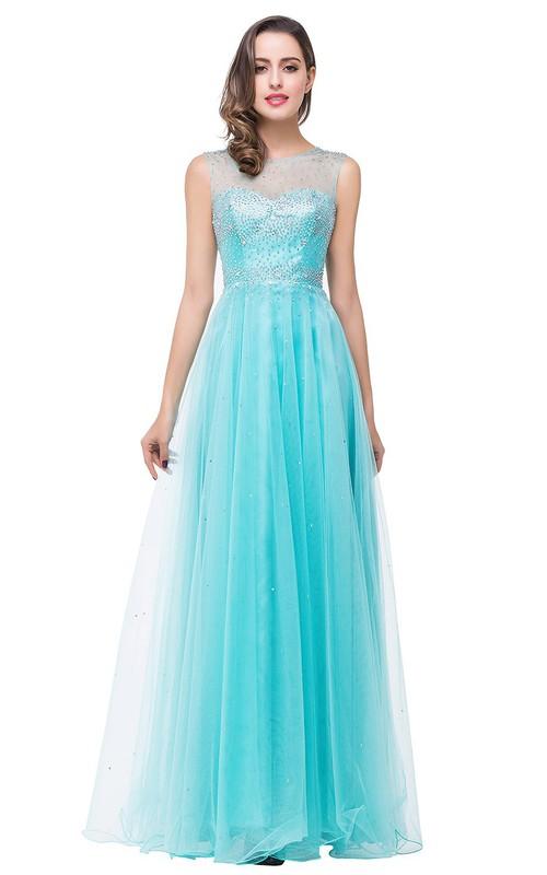 Delicate Beadings Illusion A-line 2018 Prom Dress Zipper Floor-length Sleeveless