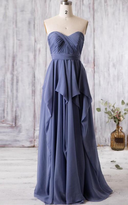 A-Line Ruffled Keyhole High-Waist Sweetheart Floor-Length Gown