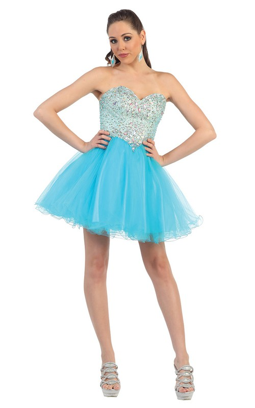 A-Line Backless Tulle Jeweled Short Mini Strapless Sweetheart Sleeveless Dress