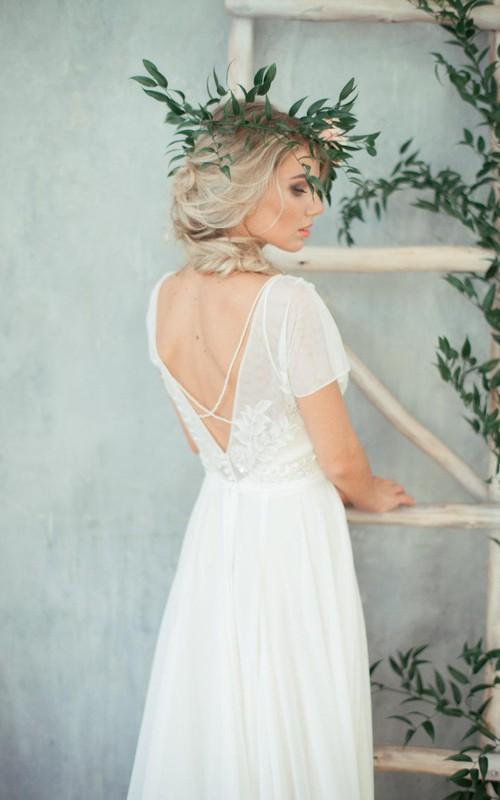Chiffon Jeweled Top Cap-Sleeve Jewel-Neckline Dress