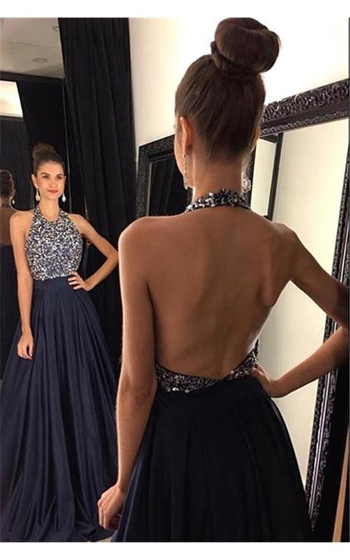 Prom Backless Floor-Length Chiffon Jewels Black Sassy Dress