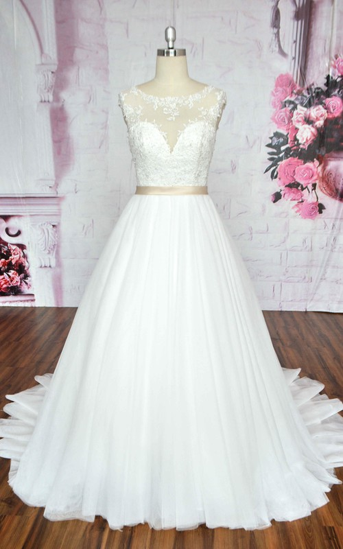 Ballgown Sleeveless A-line Tulle Wedding Dress With Illusion Neckline And Deep V-back