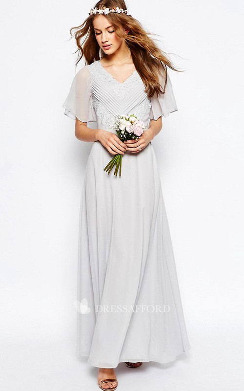 V-neck Poet-sleeve Chiffon Ankle-length Dress With Ruching And Appliques