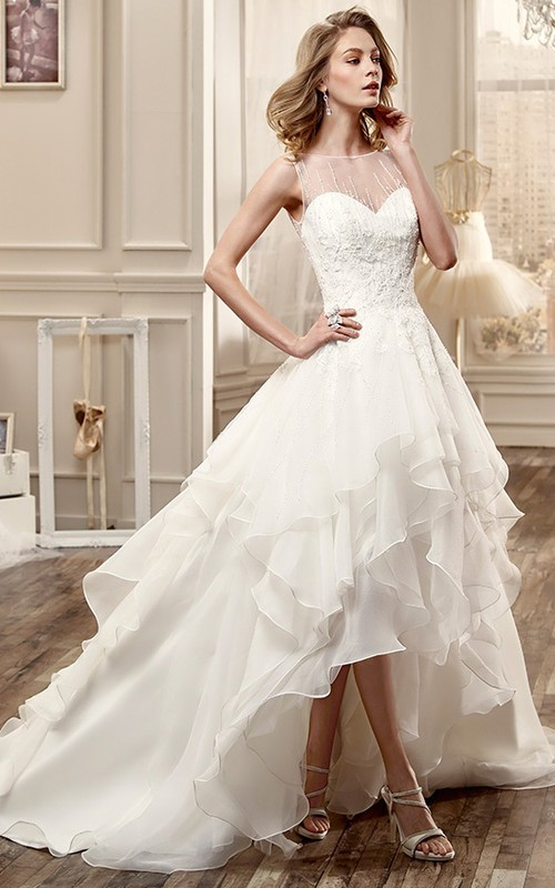 High-low Sleeveless Ruffled A-line Wedding Dress With Appliques And Deep-V Back